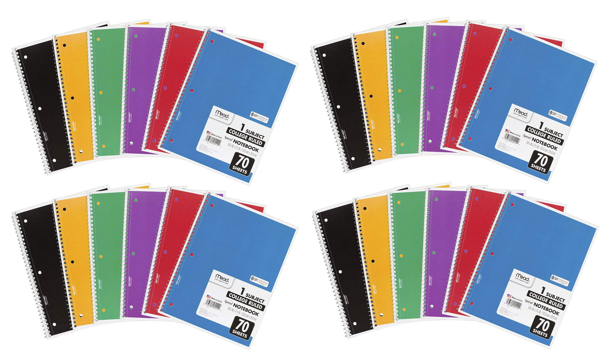 Mead MNJDHCHG Spiral Notebooks, 1 Subject, College Ruled Paper, 70 Sheets, 10-1/2'' x 7-1/2'', Assorted Colors, 6 Pack (73065) 24 Pack