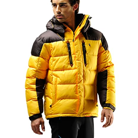 53fdc8f985e FUERZA Mens Winter Down Wellon Hooded Heavy Duty Parka Jacket - Yellow  (Small)