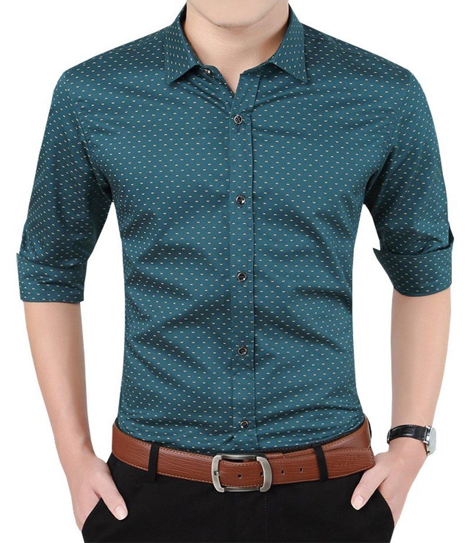 84c82dc522 Aiyino Men s 100% Cotton Long Sleeve Plaid Slim Fit Button Down Dress Shirt