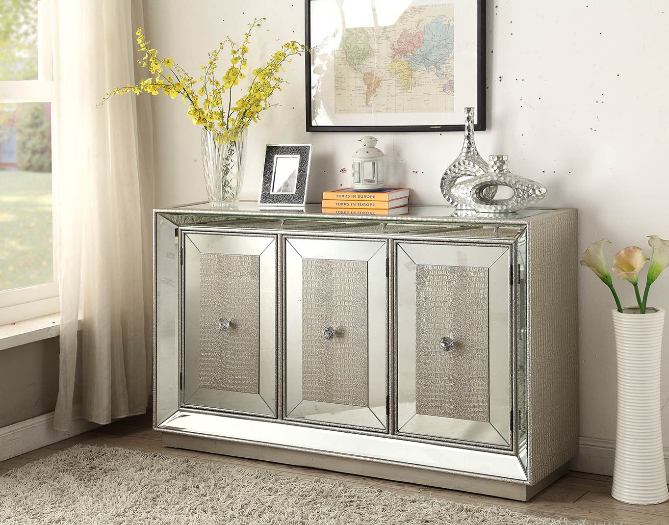 derrys Sofia Mock Croc und Spiegel Paneelen Sideboard, Holz, Silber