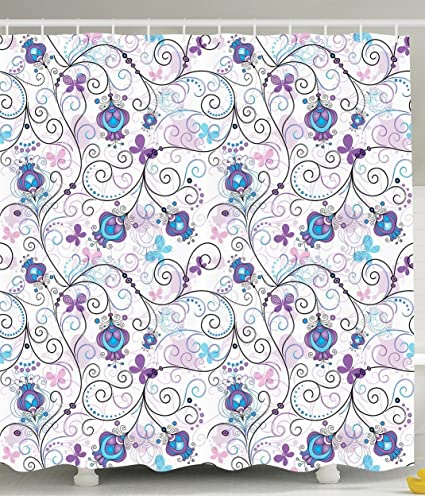 Mirryderr Paisley Shower Curtain Art Prints Flowers Nature Floral Ornaments Tulips Branches With Butterfly Pattern