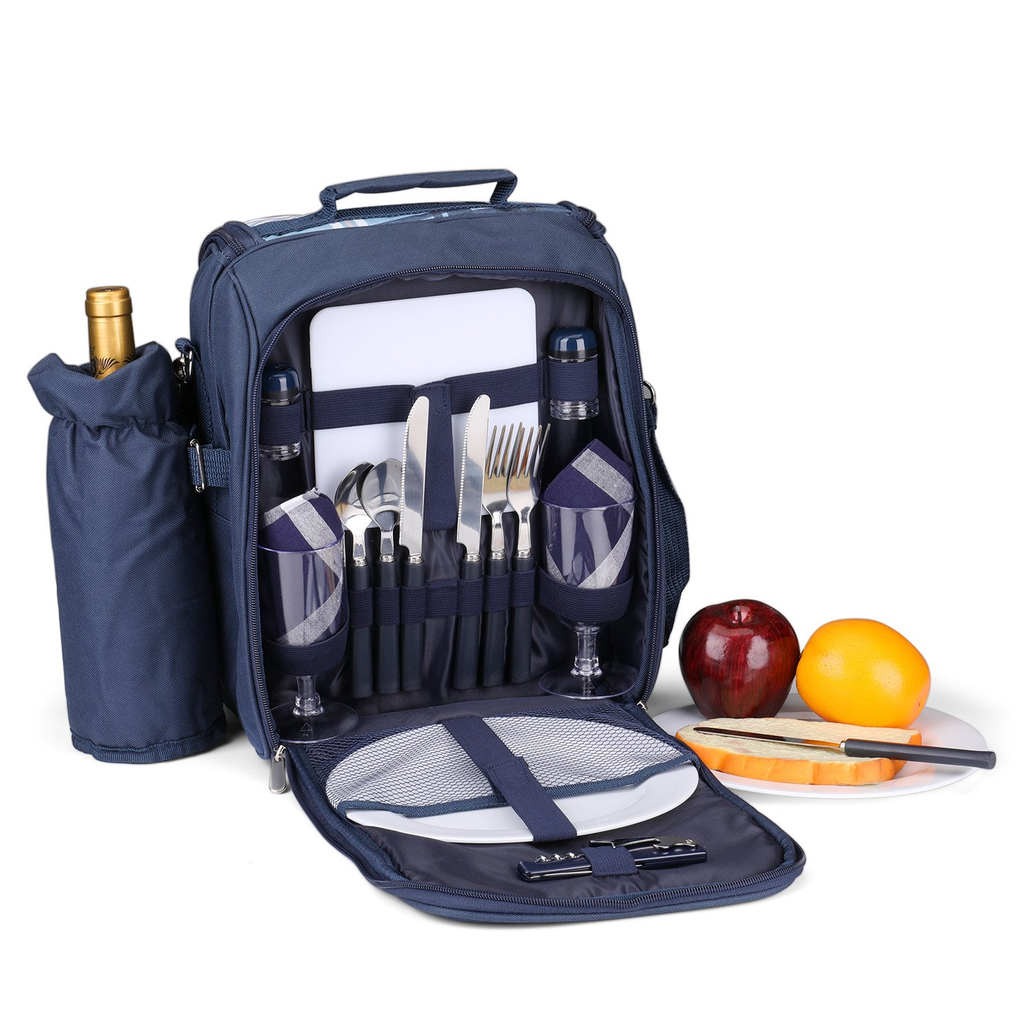 Flexzion Picnic Bag Kit - Set for 2 Person with Cooler Compartment Detachable Bottle/Wine Holder Plates and Flatware Cutlery Set Insulated Lunch Bag (Plaid Tartan - Blue)
