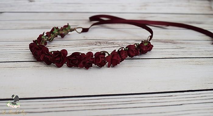 fe922de7f39e Amazon.com: Burgundy Flower Crown - Romantic Wedding - Bridal Flower Crown  - Small Flower Crown - Burgundy Bridesmaid Hair - Flower Girl Halo -  Christmas ...