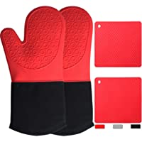 Oven Mitts and Pot Holders Sets 4 Pcs Red Silicone Pot Holders for Kitchen Heat Resistant, Heavy Duty Waterproof Long…
