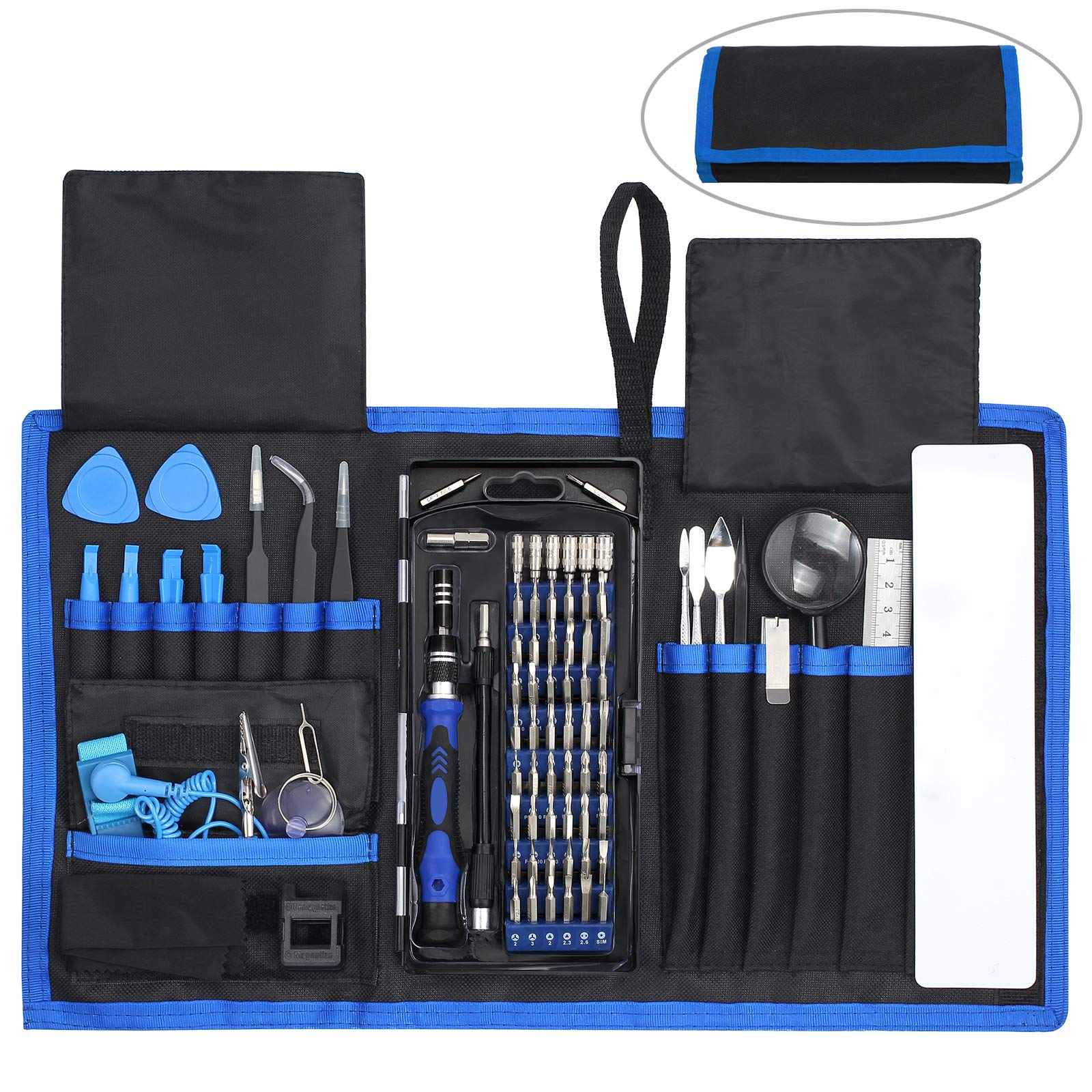 Justech Precision Screwdriver Set 82 in 1 Magnetic Driver Kit Professional Mini Portable Repair Tool Kit with 56 Bits for Repair Cell Phone iPhone iPad Laptop Smartphones MacBook-Blue