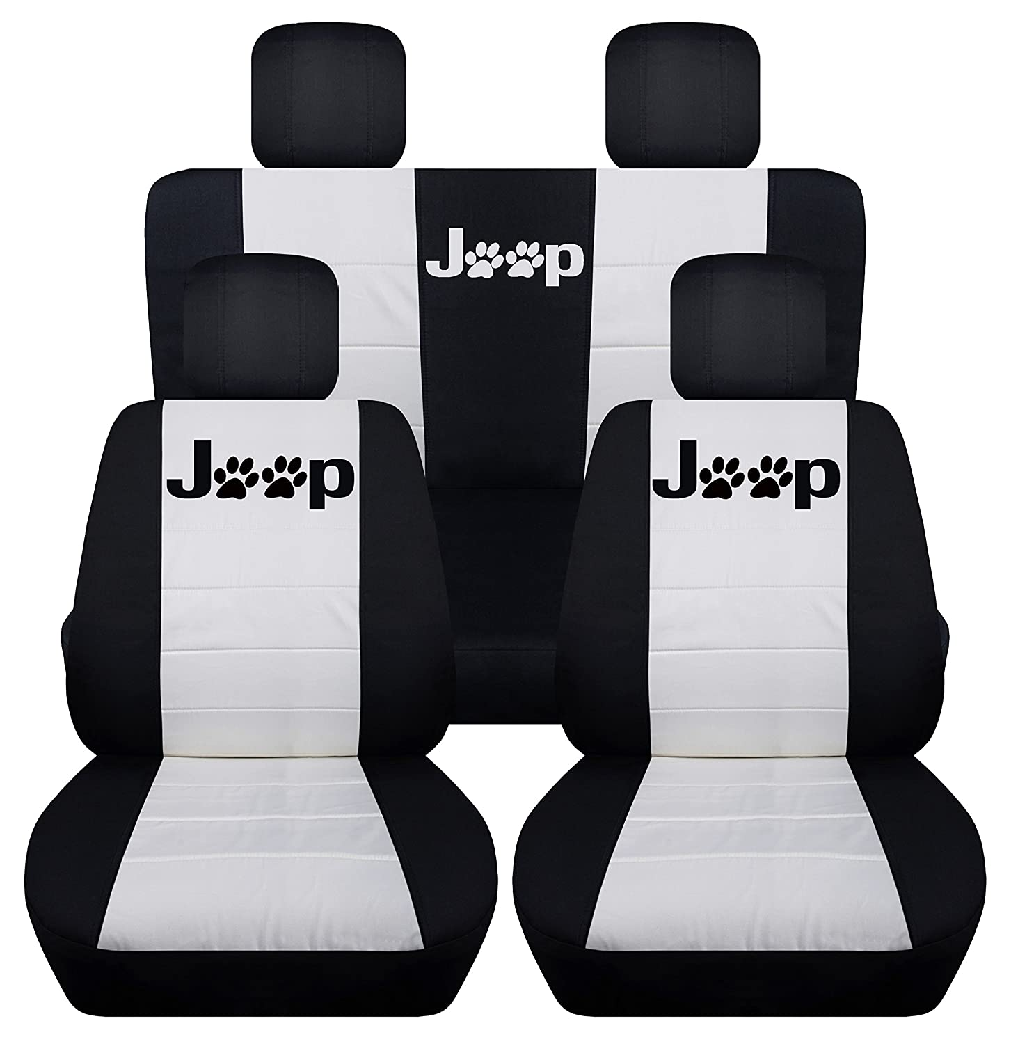 Side Airbags, Black Steel Grey Designcovers Fits 2011 to 2017 Jeep Wrangler 2 Door Paw Print Seat Covers 22 Color Options