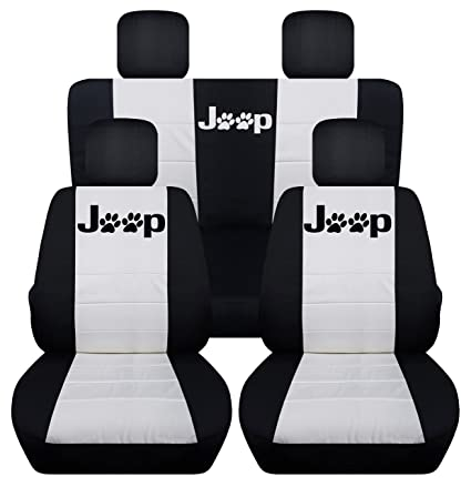 Front And Rear Seat Covers For A 2008 2012 Jeep Liberty (Black White)