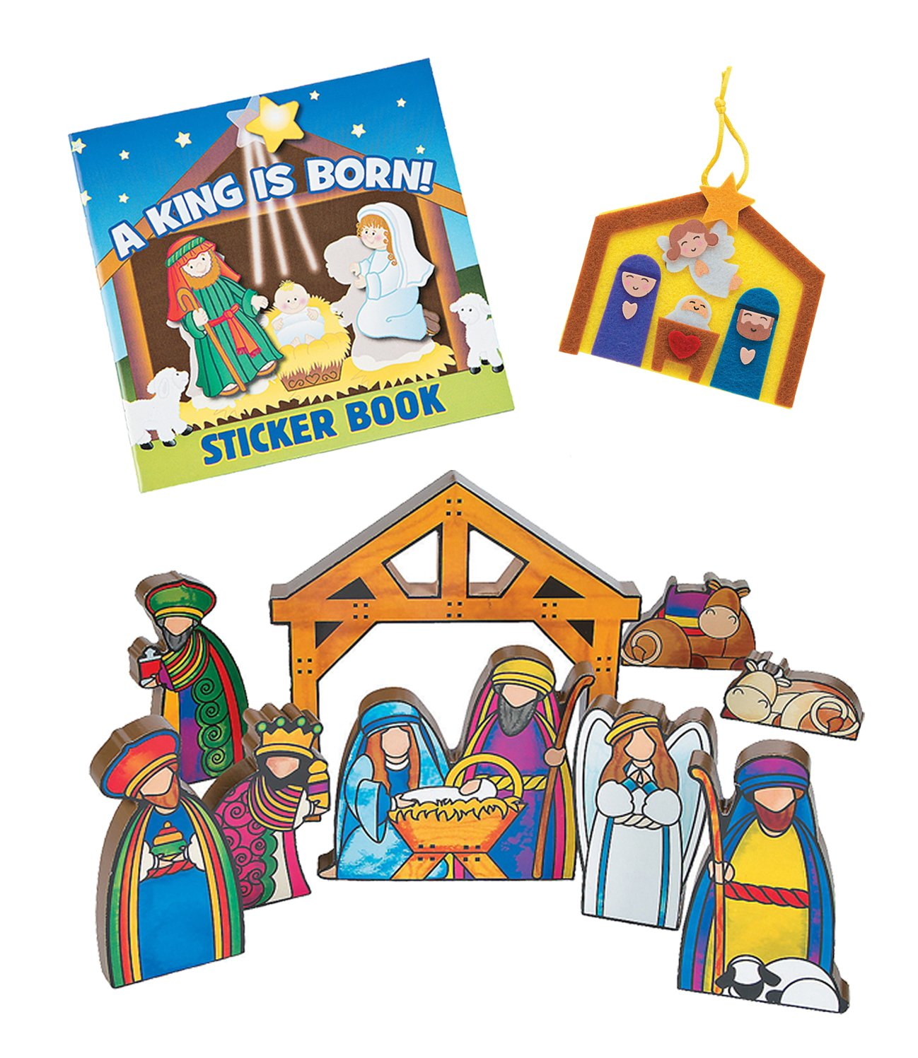 Children's Christmas Nativity Gift Set - Includes Wooden Nativity Set, Ornament Craft Kit and Nativity Sticker Book FX