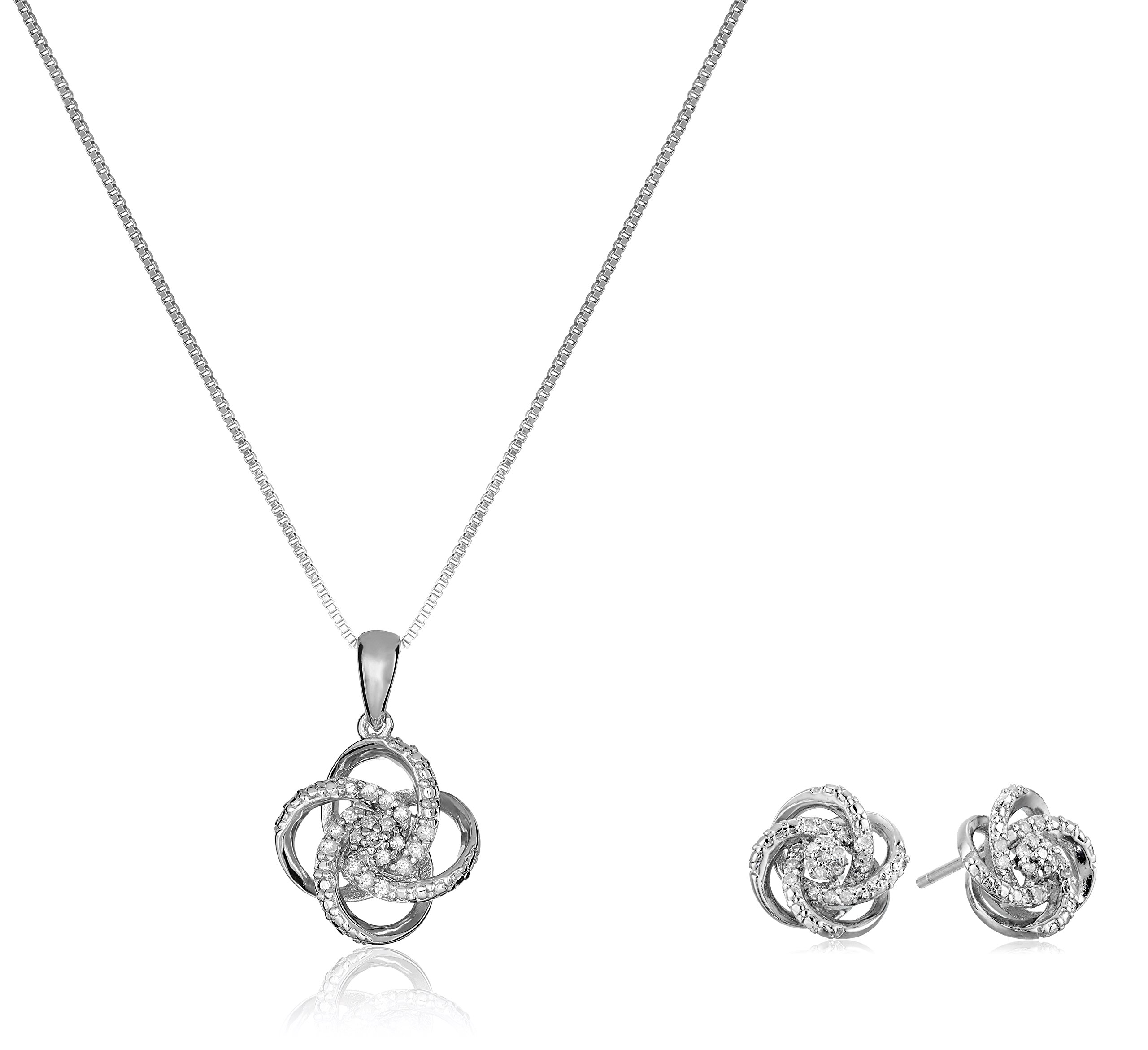 Sterling Silver Diamond Love Knot Pendant Necklace and Earrings Boxed Jewelry Set (1/4cttw, J-K Color, I2-I3 Clarity), 18''
