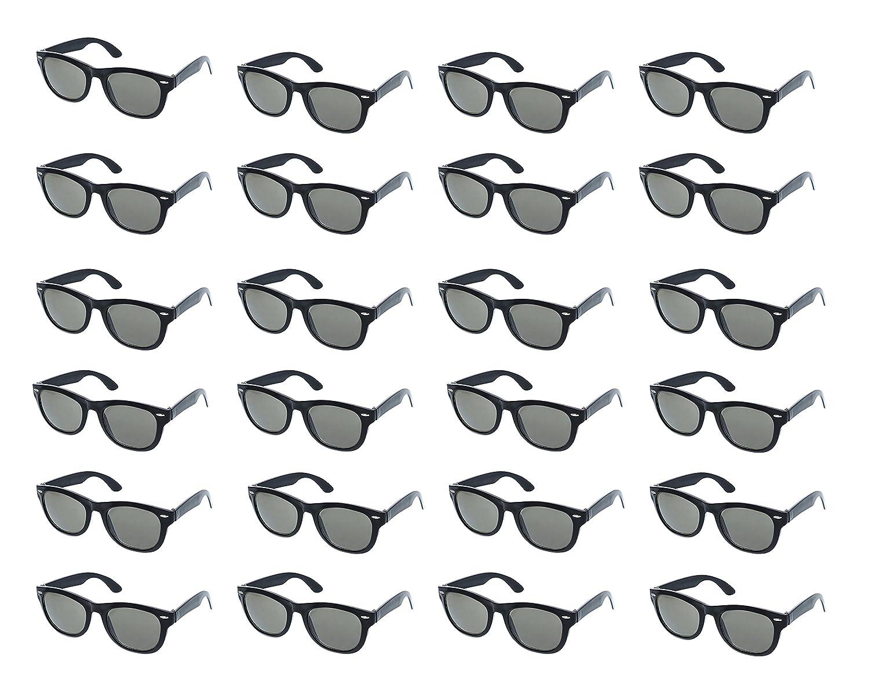 980bda9963a Party Sunglasses - 24-Pack Vintage 80s Retro Trendy Style Black Party  Glasses