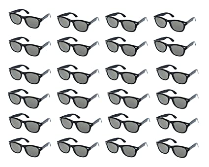 6af59aa7fc3 Party Sunglasses - 24-Pack Vintage 80s Retro Trendy Style Black Party  Glasses