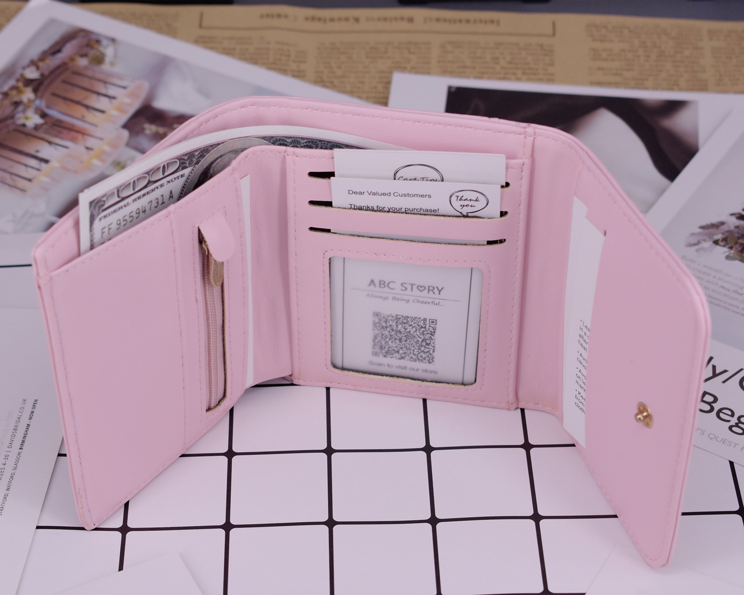 ABC STORY Womens Cute Pink Purse Card Holder Small Trifold Wallets For Teen Girls by ABC STORY (Image #7)