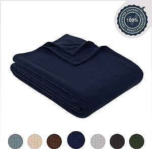 Berkshire Blanket Polartec Softec Microfleece Breathable High Warmth Performance Fleece Blanket, Navy Blazer, King