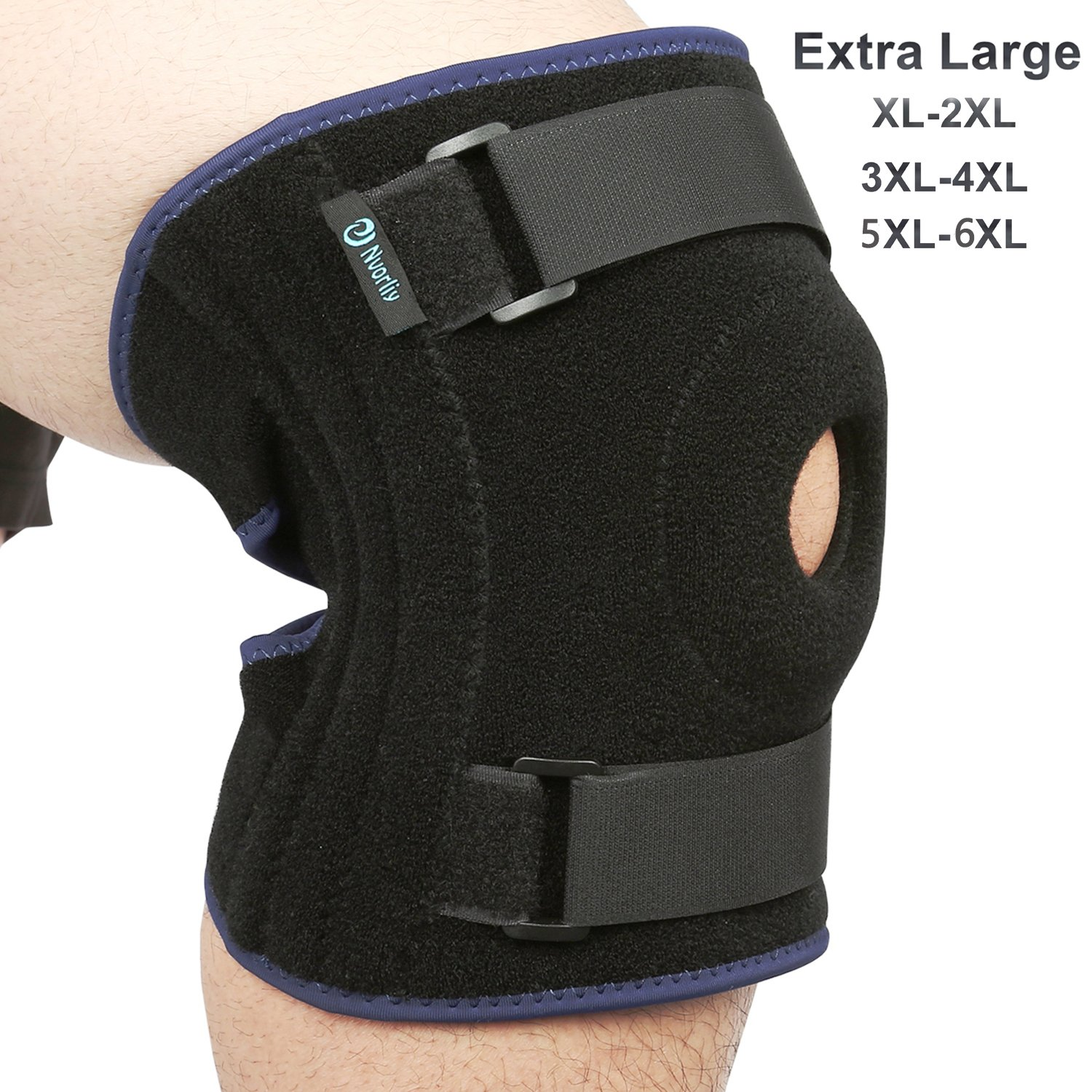 Nvorliy Plus Size Knee Brace XL 2XL Extra Large Open-Patella Stabilizer Breathable Neoprene Support for Arthritis, Acl, Running, Pain Relief, Meniscus Tear, Post-Surgery Recovery, Fit Men and Women