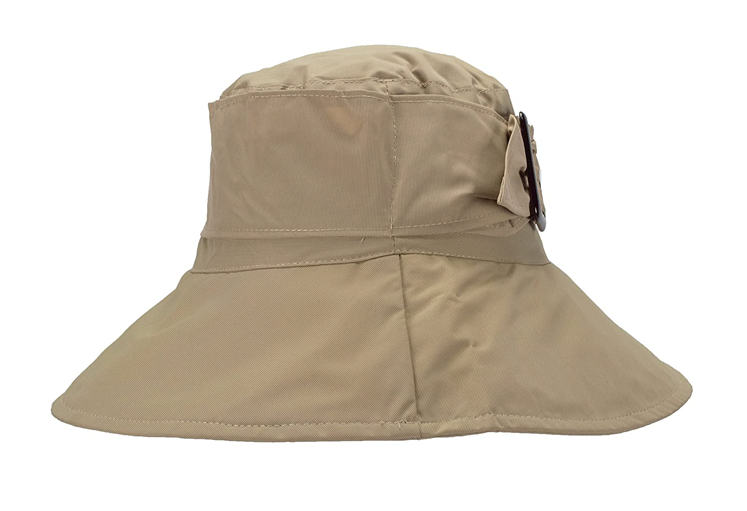 3.5 inch Wide Brim FLH Cute Bucket Rain Hat w//Buckle Accent Roll-Up Packable