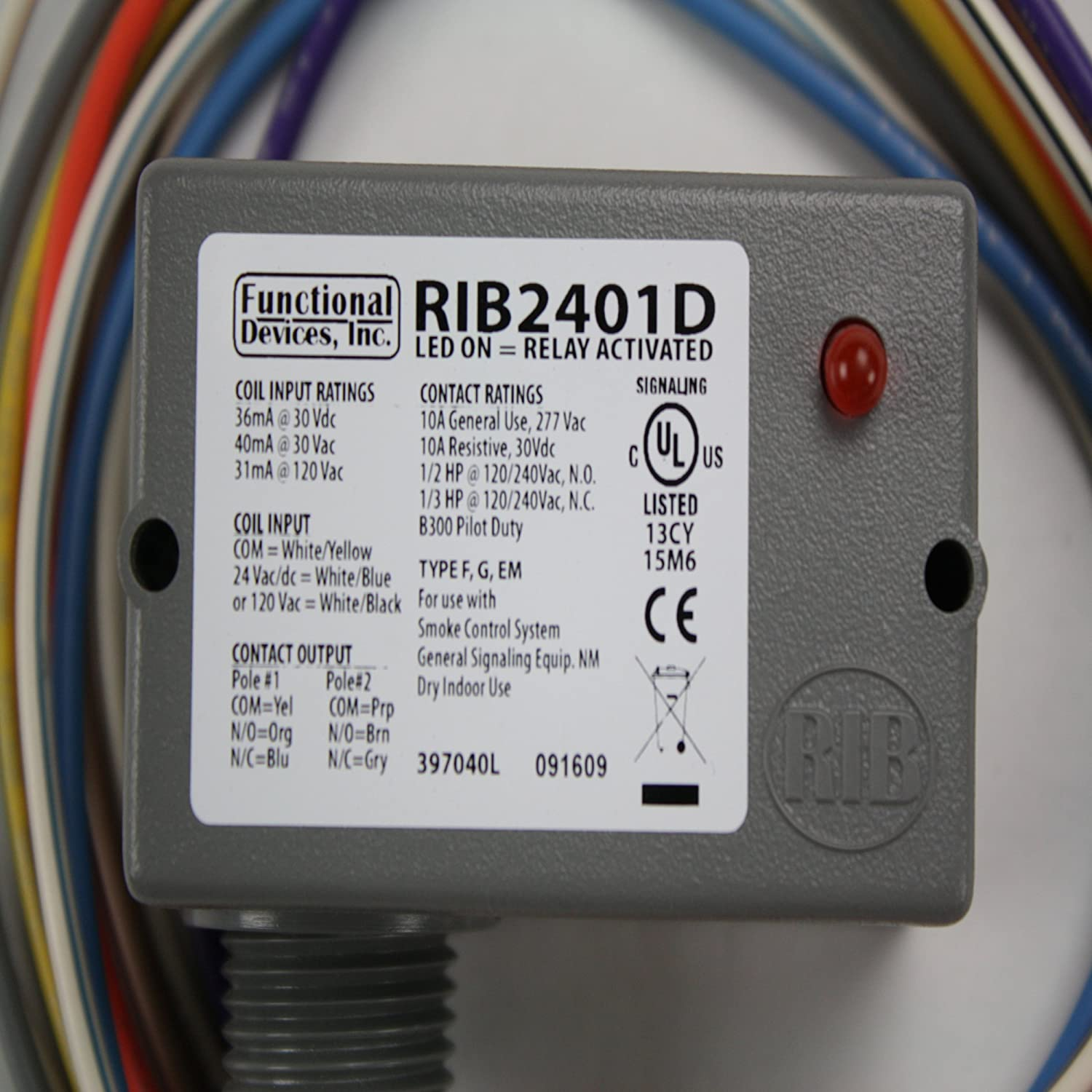 Functional Devices RIBD Enclosed Pilot Relay Amp Dpdt With - Rib2401b wiring diagram