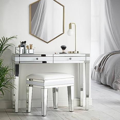 Beautify weißer verspiegelter Schminktisch Konsole mit 2 Schubladen &  Kristall-Griffen - Luxuriöse & glänzende Schlafzimmer-Möbel