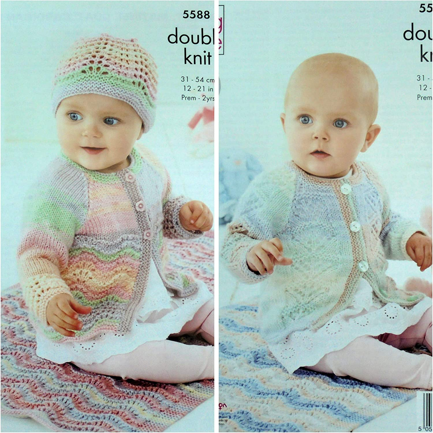 King Cole Baby DK Knitting Pattern Lace Matinee Coat Cardigan Blanket Hat 5588
