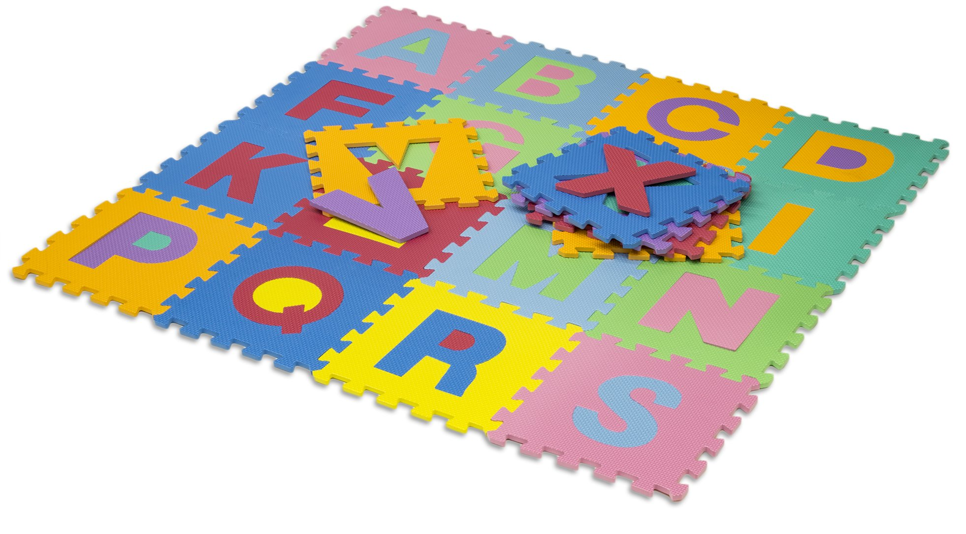 HemingWeigh Kids Multicolored Alphabet Puzzle Play Mat - 26 Tiles - Soft and Safe EVA Foam - Excellent for Day Care's, Play Rooms, Baby Rooms, and playgrounds
