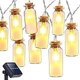 Oak Leaf Solar String Lights,9.8 ft 30 LEDs Waterproof Glass Jar LED Fairy Deceration Lights for Outdoor Garden Backyard Wedding Indoor Party,Warm White