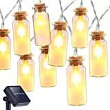 Solar String Lights, Oak Leaf 30 LEDs Waterproof Glass Jar LED Fairy Lights for Outdoor Garden Backyard Wedding Indoor Party, Warm White,9.8 ft