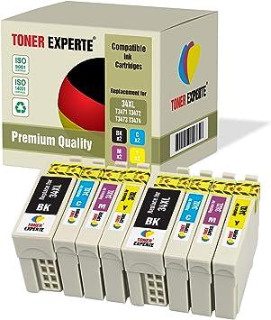 Pack de 8 XL TONER EXPERTE® Compatibles 34 34XL Cartuchos de Tinta para Epson Workforce Pro WF-3720DWF, WF-3725DWF (2 Negro, 2 Cian, 2 Magenta, 2 Negro): Amazon.es: Electrónica