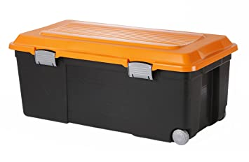 Sundis 7682024 Camper Coffre de Rangement Plastique Noir/Orange 75 ...