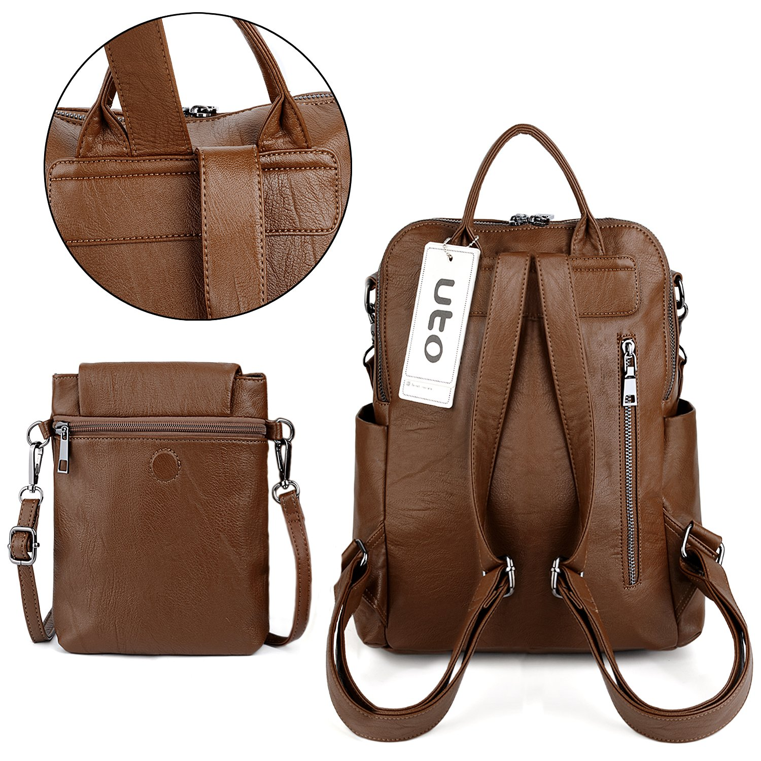UTO Women Backpack Purse PU Washed Leather Ladies Rucksack Detachable Crossbody Shoulder Bag B Brown by UTO (Image #6)