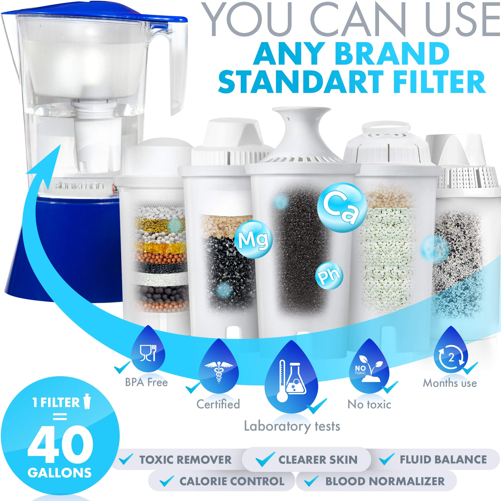 Filtered Water Pitchers DRIKMAN Universal Water Filter Pitcher 1 Gallon Pitcher Water Pitcher with Filter Water Purifier Pitcher Filtered Water Dispenser with Stand