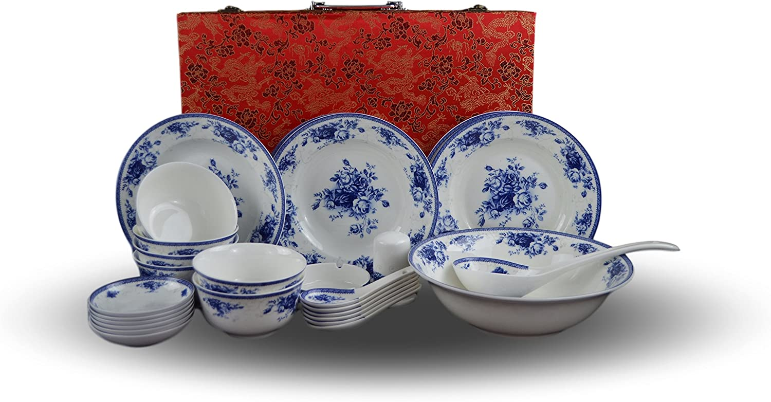 6-piece Bone China Blue and White Dinnerware Set, Service for 6, Rice Bowl  Set, Jingdezhen, (white)