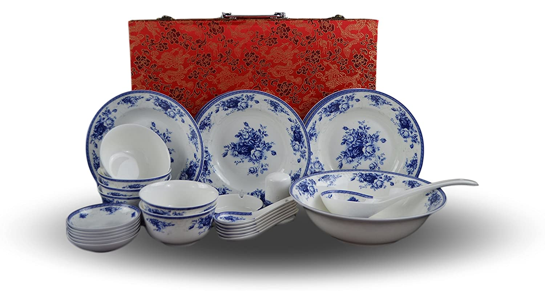 428fd69e5b5d Amazon.com: 28-piece Bone China Blue and White Dinnerware Set, Service for  6, Rice Bowl Set, Jingdezhen, (white): Kitchen & Dining