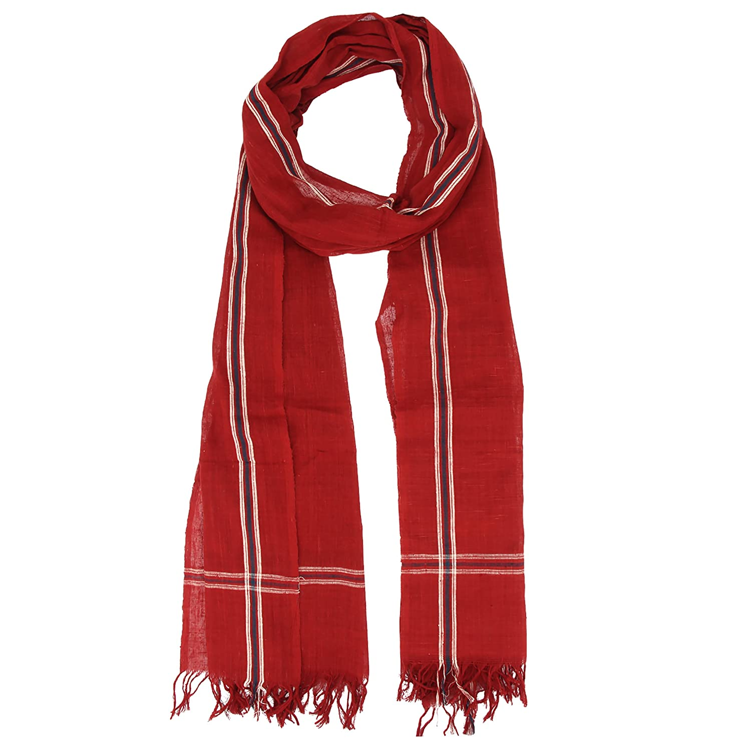 organic cotton hand made Indian Dupatta red stole