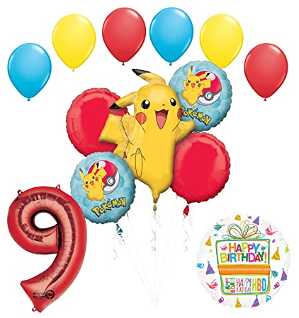 Pokemon 9th Birthday Party Supplies And Balloon Bouquet Decorations
