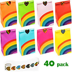 NIMU 40 Pieces Rainbow Party Bag with 100 Heart Stickers, All in One Package Ideal for Birthday Gifts and Party Favours Multi-use for Girls Boys Kids Party Supplies Prime