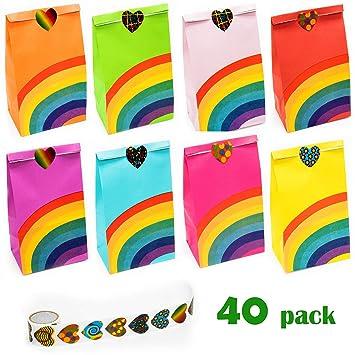 Amazon.com: NIMU - 40 bolsas de fiesta de arcoíris con 100 ...