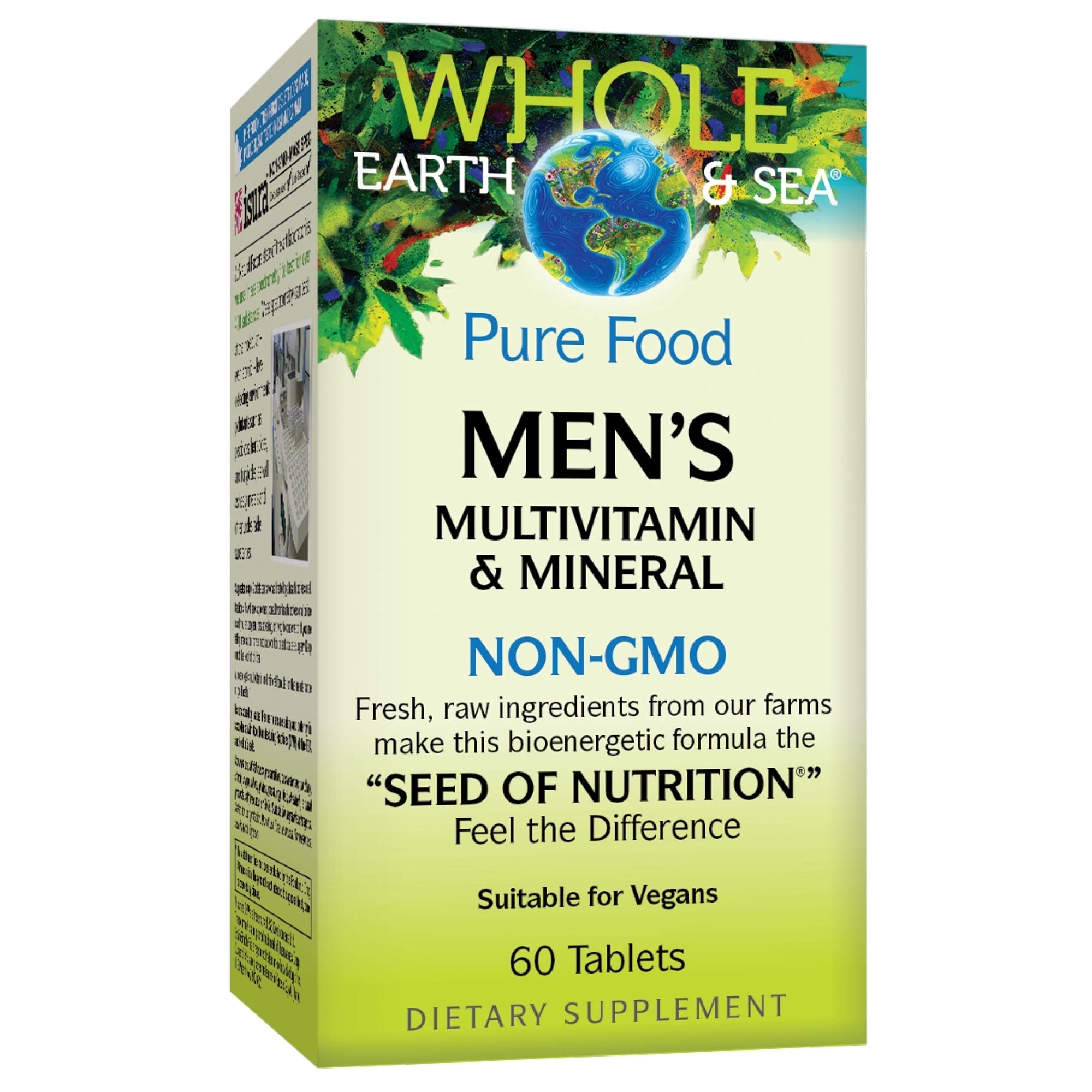 Whole Earth & Sea from Natural Factors, Men's Multivitamin & Mineral, Whole Food Supplement, Vegan and Gluten Free, 60 Tablets (30 Servings) by Natural Factors