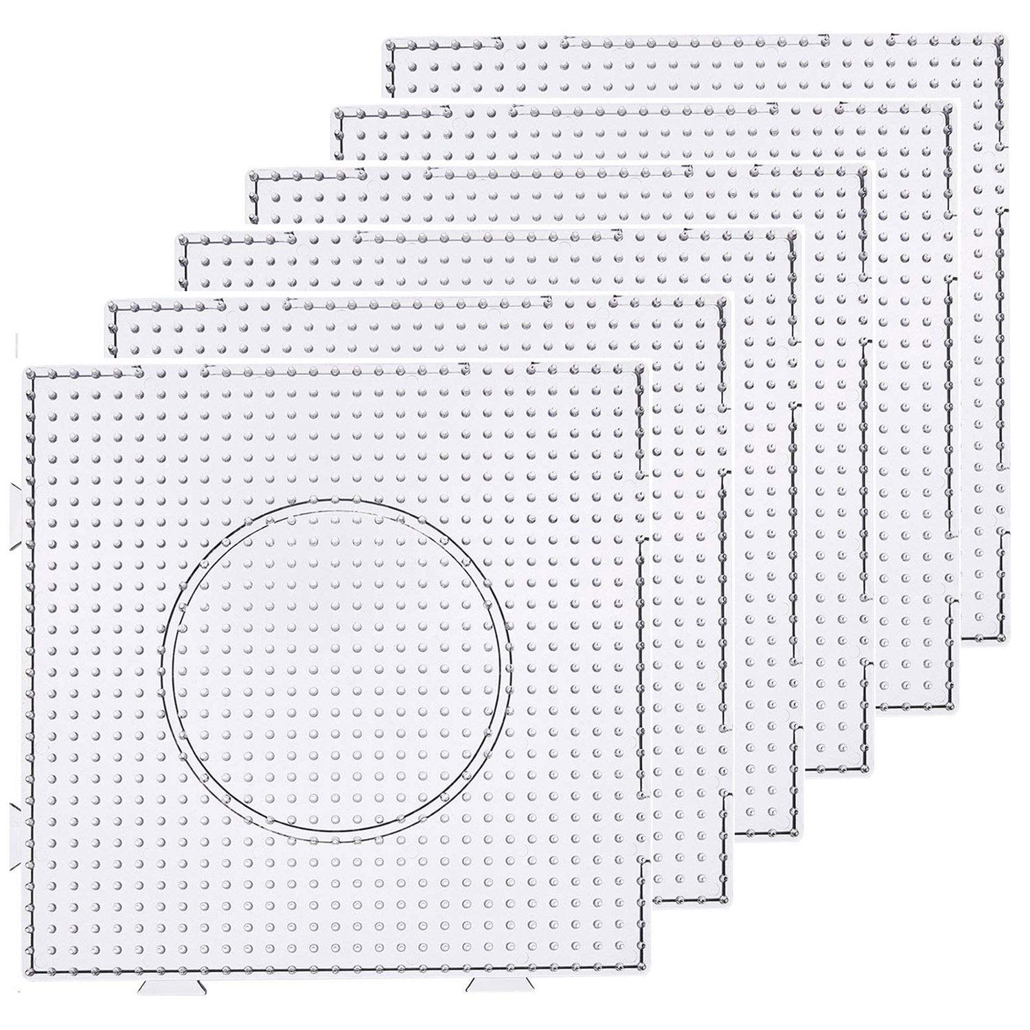 Luckkyme 5mm Fuse Beads Boards Large Square Clear Plastic Pegboards for Kids (6 PCS)
