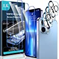 [3+3 Pack] LK 3 Pack Screen Protector Compatible for iPhone 13 Pro with 3 Pack Camera Lens Protector, Tempered Glass Film, HD
