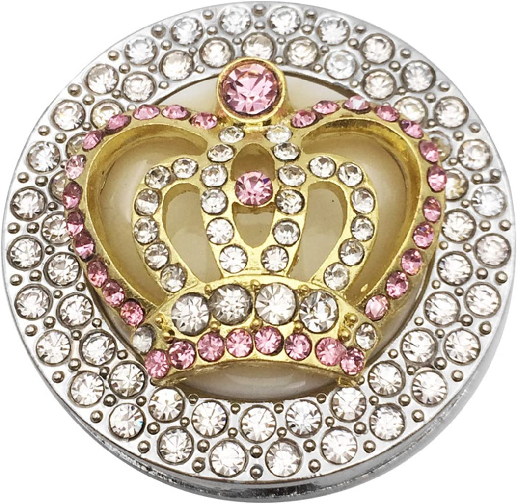 Reizteko Purse Hook, Shining Double Row Rhinestone Queen Crown Foldable Handbag Purse Hanger Hook Holder for Tables (Pink)