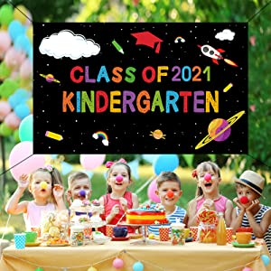 DARUNAXY Kindergarten Graduation Banner, Welcome Back to School Banner First Day of School Class of 2021 Party Supplies, Classroom Posters Photo Backdrop, Bulletin Board and Wall Decor for Preschool