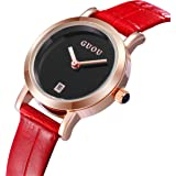 KINGMAN.INC Womens Watches,Classic Retro Waterproof Leather Watch Chronograph Stainless Steel Quartz Watch