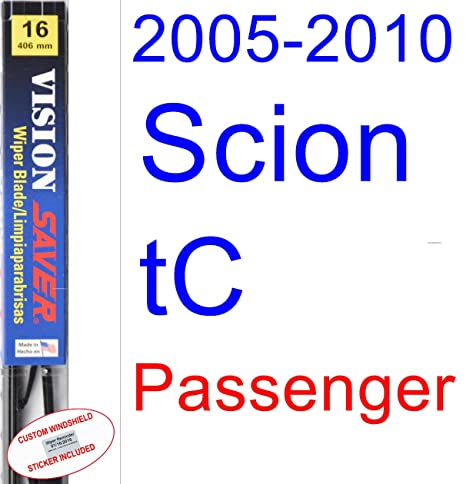 Amazon.com: 2005-2010 Scion tC Wiper Blade (Passenger) (Saver Automotive Products-Vision Saver) (2006,2007,2008,2009): Automotive