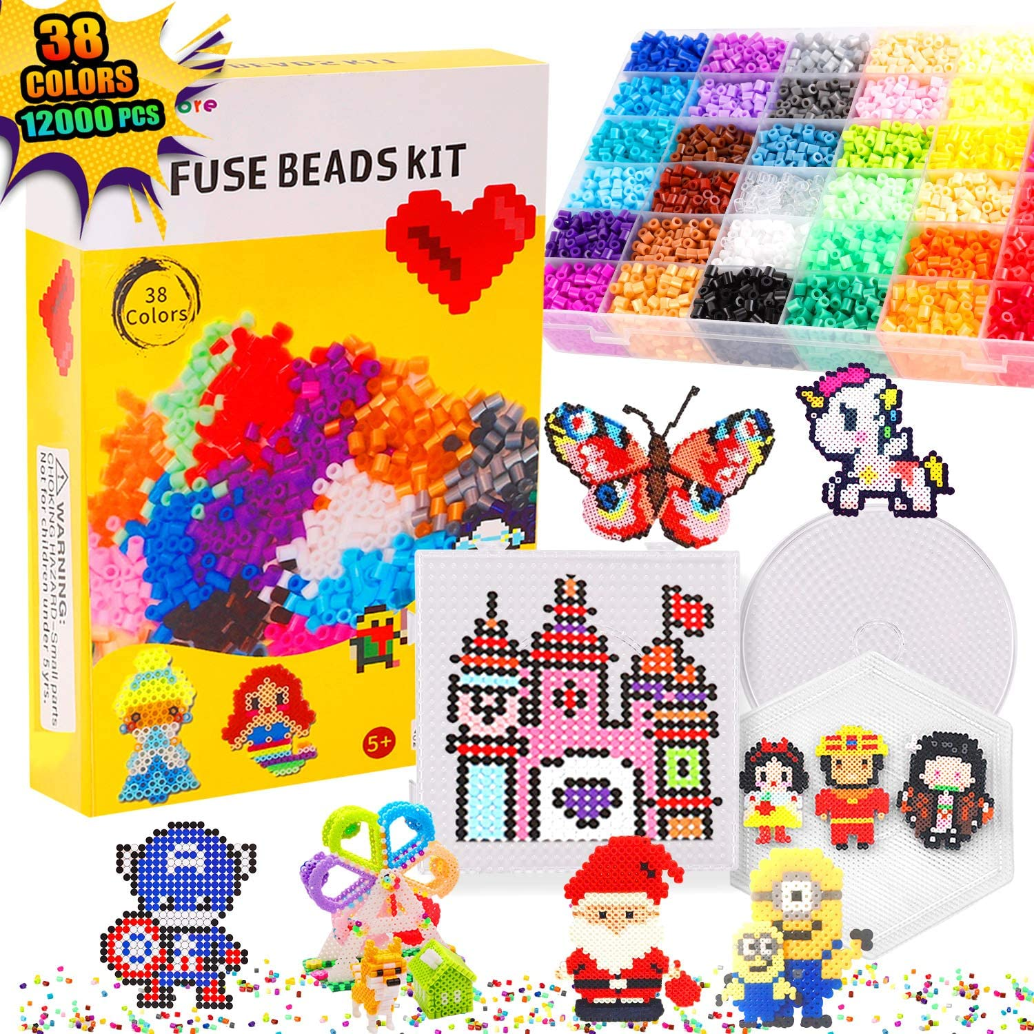 Bachmore Fuse Beads Craft Kit Melty Fusion Colored Beads 12,000pcs 38 Colors Pearler Craft Sets for Kids Including 7 Pegboards,Booklet Chain Accessories Activity Gift Toy For Boys and Girls Age 5 6 7