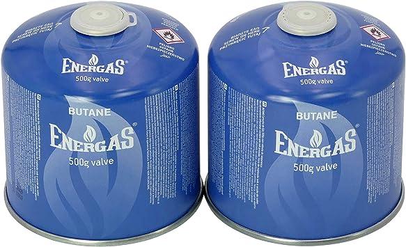 2 cartuchos de rosca butano de 500 g, cartuchos de válvula de camping, EN 417, cartuchos para tornillos de válvula, EN521, cartucho con rosca, ...