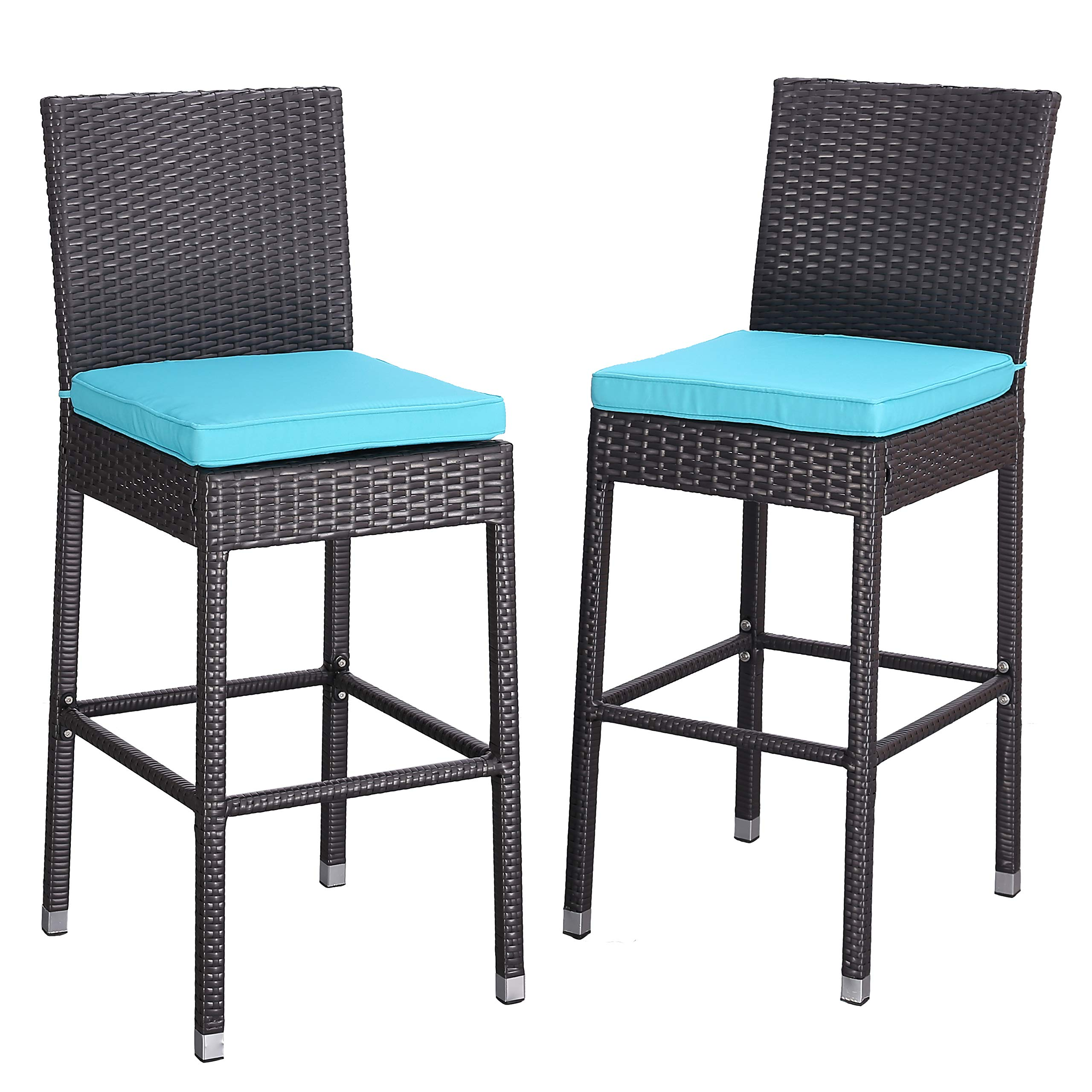 Do4U Set of 2 Patio Bar Stools All-Weather Wicker Outdoor Furniture Chair, Bar Chairs with Beige Cushions & Footrest   Garden Pool Lawn Backyard   Steel Frame  Barstools (985-EXP-TRQ)
