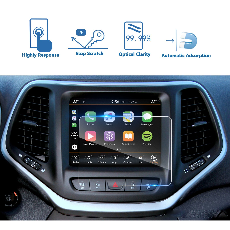 車ナビゲーション画面プロテクター、[ 9h ]強化ガラスInfotainmentセンタータッチスクリーンプロテクターAnti Scratch High Clarity クリア US01CMJC8.4  2014-2018 Jeep Cherokee 8.4 Inch B0787PP78K