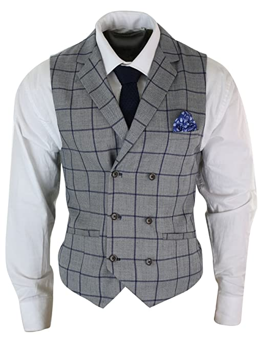 1920s Men's Fashion UK | Peaky Blinders Clothing Mens Double Breasted Herringbone Tweed Peaky Blinders Vintage Check Waistcoat £51.99 AT vintagedancer.com