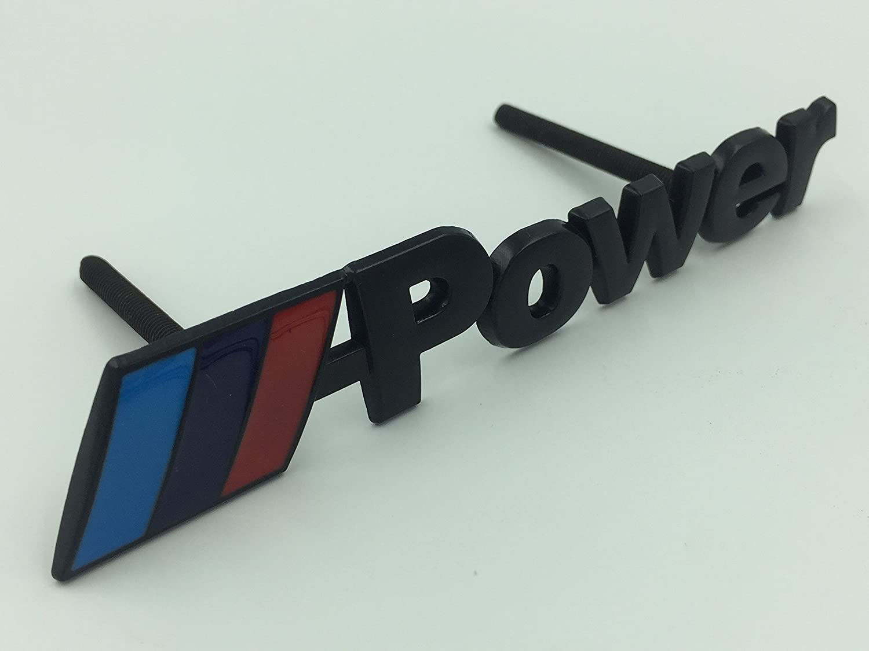 Power Logo 3d negro chapado en plateado cromado coche frente Grill Rejillas decoraci/ón aleaci/ón de metal insignia emblema//alimentaci/ón////Potencia Coche Estilo Azul