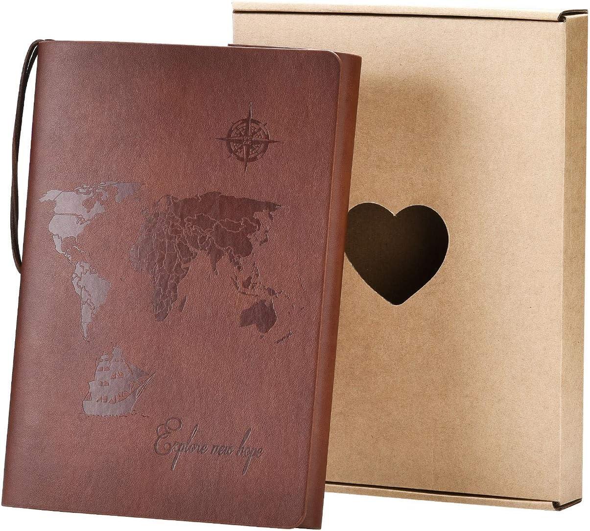 SEEALLDE A5 Cuaderno de Cuero Libreta Hojas Blancas Cuaderno de Viaje Vintage Rellenable Bloc Notas Diarios para Escribir Pintura Regalos de Navidad San Valentín Cumpleaños Madre(Marrón A5)