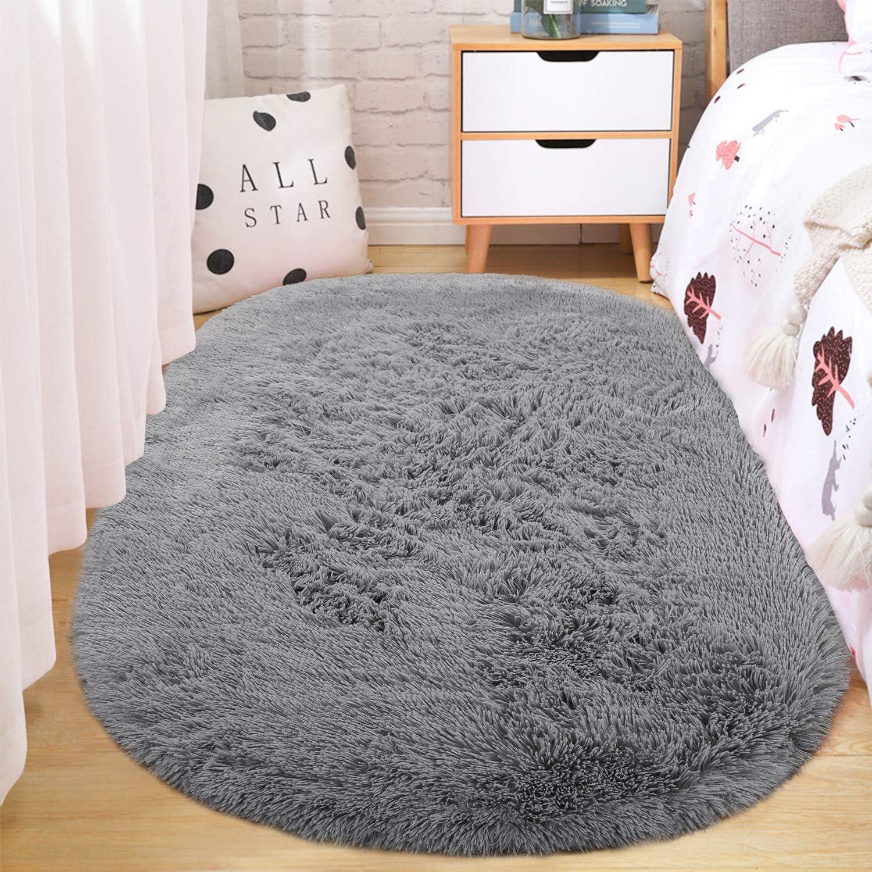 ST. BRIDGE Fluffy Soft Oval Kids Room Rug Bedroom Bedside Carpet, Anti-Skid Shaggy Fur Floor Area Rugs, Indoor Modern Fuzzy Nursery Mats for Living Dorm Room Home Decor, 2.6 x 5.3 Feet, Grey